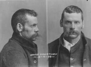 Dave Courtney with the beginnings of his moustaches in 1903 mugshots. From GD63-1-3, TAHO.