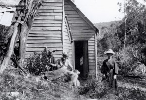 Fury hut, Fleece Creek, 1909: Gustav Weindorfer, Walter Malcolm Black, Kate Weindorfer. RE Smith photo courtesy of Charles Smith.