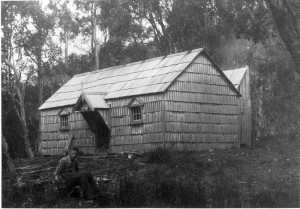 New Pelion Hut, 28 December 1940, Charles Smith in the foreground. Ron Smith photo courtesy of Charles Smith.