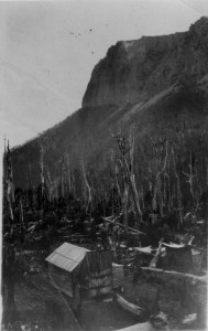 An earlier Ray McClinton or Fred Smithies shot of the original one-room Du Cane, taking full advantage of the view of Cathedral Mountain.