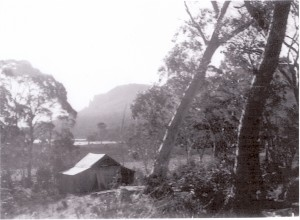 McCoy's hut as it looked in 1951, with Mount Oakleigh and Lake Ayr for a backdrop. Photo courtesy of the McCoy family.