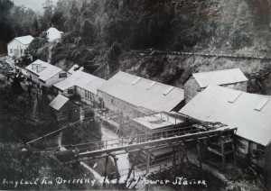 The Ringtail Sheds, in the period 1907-09, with the new power station below them at left. Stephen Hooker photo courtesy of the Tasmanian Archive and Heritage Office.