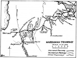 The Marrawah Tramway enters the dolomite Mowbray and Montagu Swamps on its journey from Smithton to Marrawah. Brittons' branch tramway penetrates Brittons Swamp. Map by 'Wanderer', 'Railways and Tramways of the Circular Head District', Australian Railway Historical Bulletin no.168, October 1951.