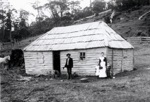 A close-up of the Browns in front of the mustering hut. Ron Smith photo courtesy of the late Charles Smith.