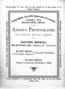 Anson Studio advert from Picturesque and Interesting Tasmania (1890), courtesy of TAHO.