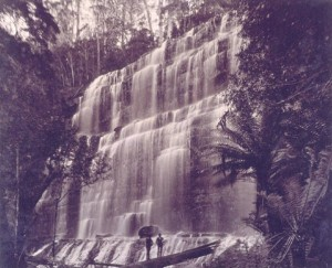 Browning Falls (Russell Falls) on the Russell River, probably shot for Anson Studio by JW Beattie and later re-branded as his. From Anson Studio's Picturesque and Interesting Tasmania album (1890), courtesy of TAHO.