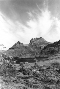 Cradle Mountain and Dove Lake, as Peregrinator's party would have seen it, without tourist infrastructure. HJ King photo courtesy of Maggie Humphrey.