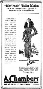 The fashionable British bride would not think of departing on her honeymoon in anything but a Tasmanian brush possum collar coat in 1932. Advert from the Grantham Journal, 29 October 1932, p.4.