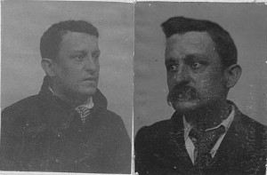 Joshua Anson's 1877 and 1896 mug shots, from GD128-1-2, Tasmanian Archive and Heritage Office (TAHO).